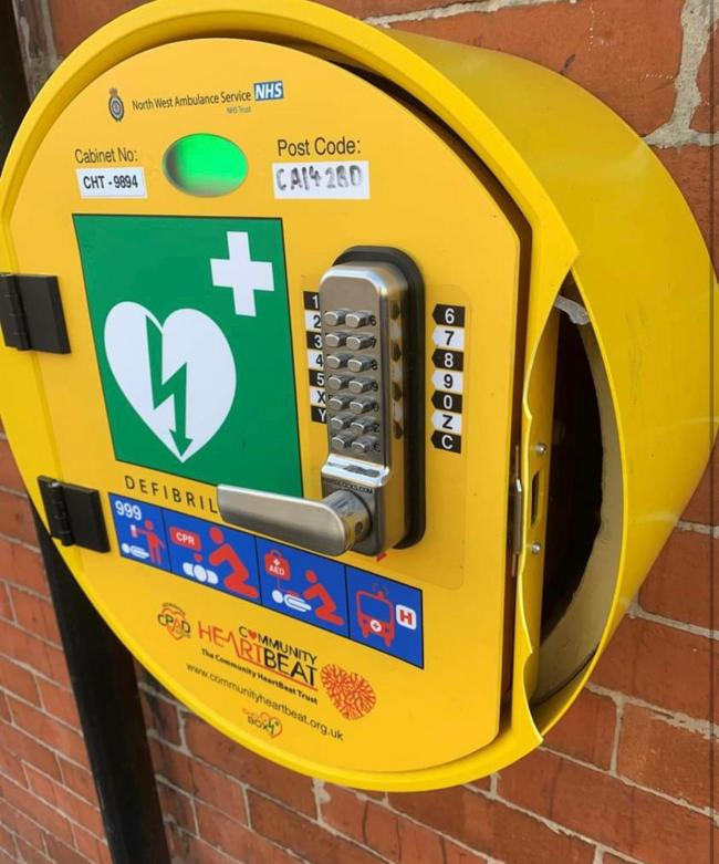 The defibrillator outside the Carnegie Theatreon Finkle Street, Workington, was vandalised