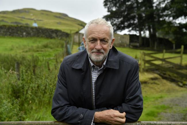 Labour Leader Jeremy Corbyn visits Rakefoot Farm near Keswick in Cumbria :22 August 2019.Stuart Walker.