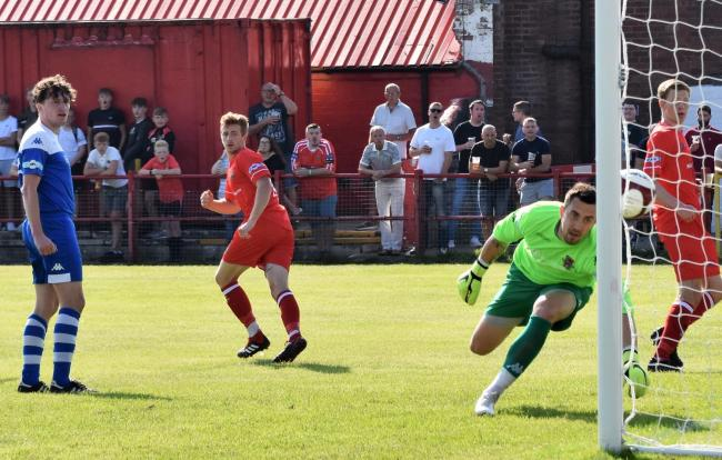 CLINICAL: Scott Allison watches his header cross the line to open the scoring	    	             BEN CHALLIS