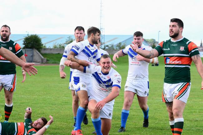 Tom Curwen celebrates scoring for Workington Town against Hunslet. Picture: Gary McKeating