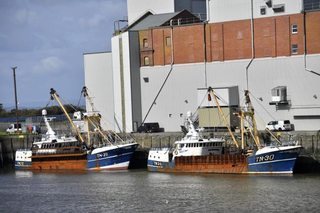 Fishing boats in the Port of Silloth moored by Carrs Mill. TN Trawlers of Annan who fish for scallops. Trawler TN30 Noordzee and TN20 Sea Lady: 5 September 2019.STUART WALKER.