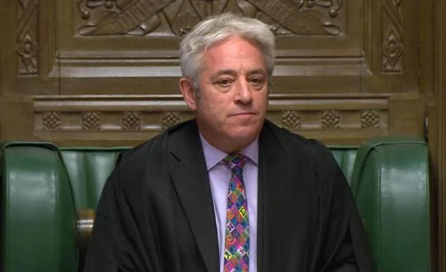 BID BLOCKED:Speaker John Bercow announces in the House of Commons in London whether Government can hold a debate and vote on the Brexit deal
