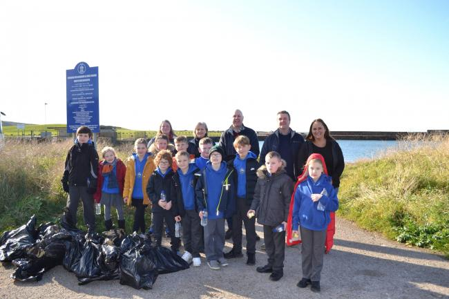 Whitehaven pupils involved in a clean up of Harrington Beach