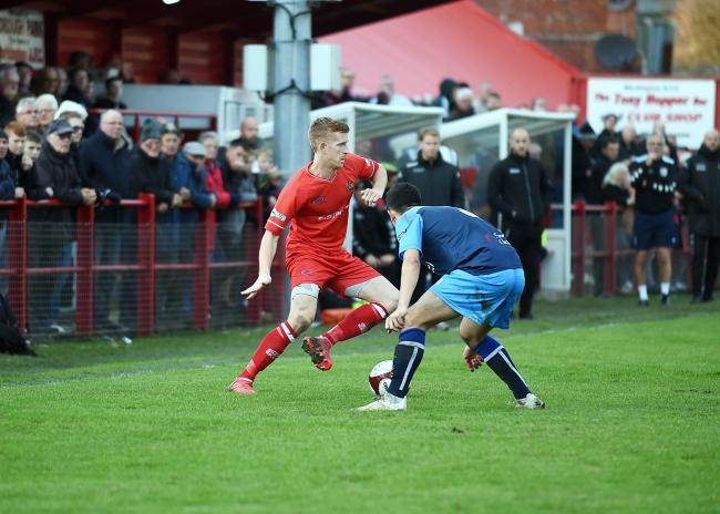 Workington Reds v Tascaster Albion.  pic Mike McKenzie 2nd Nov 2019....Scott Allison attacks from the wing.  pic Mike McKenzie.