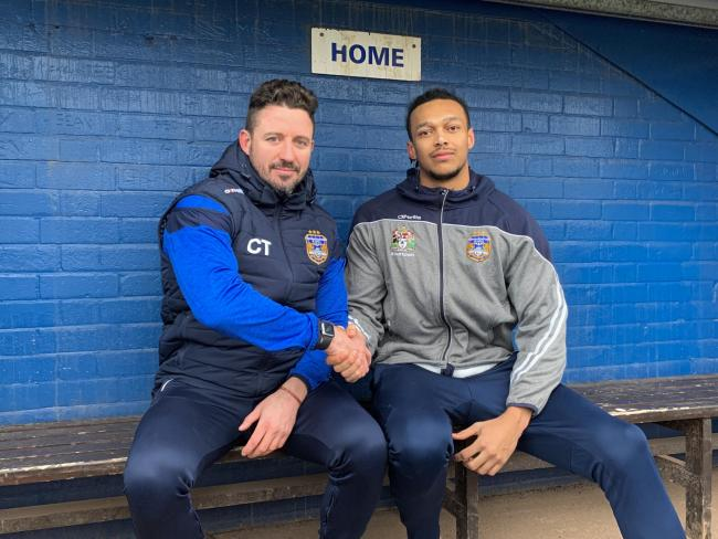 INCOMING: Town head coach Chris Thorman welcomes new signing Alex Young to the club