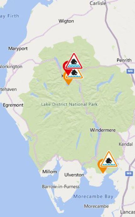 Flood alerts for Cumbria