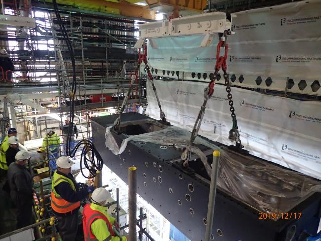 Installation: Work has begun to install the second of three emptying machines at Sellafield's Magnox Swarf Storage Silo