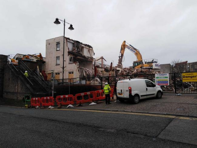 The demolition taking place in Workington.