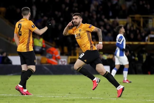 Ruben Neves scored a spectacular goal in Wolves' 4-0 first leg win over Espanyol