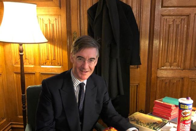 Jacob Rees-Mogg poses with crisps following Yorkshire Tea online abuse