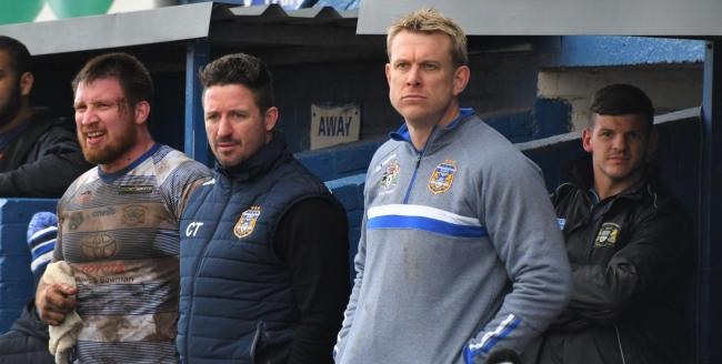 Unhappy: Town head coach Chris Thorman, left, and Neil Fraser Ben Challis