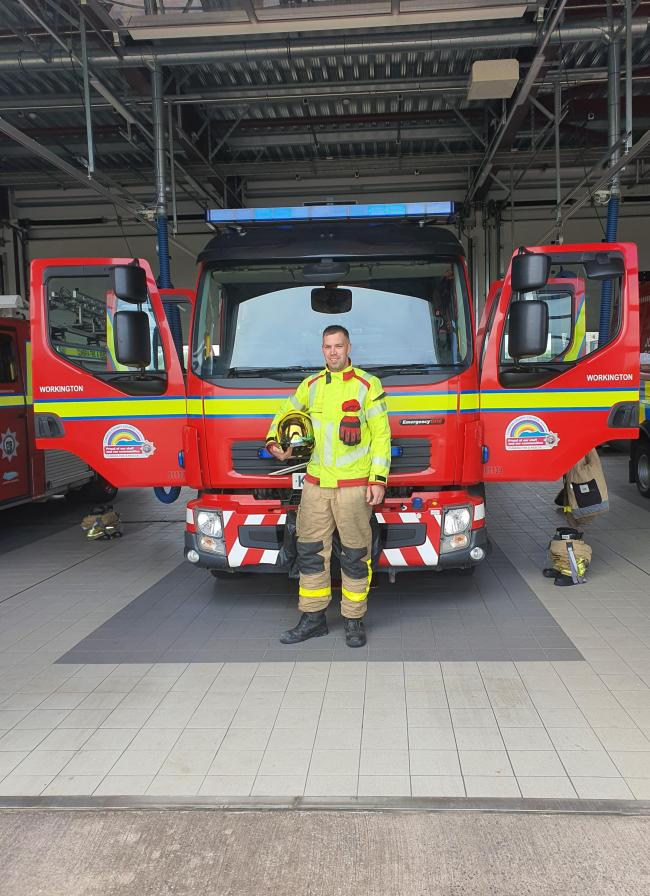 Ryan Glover will raise money for the NHS by walking more than 22 miles in his full firefighting gear