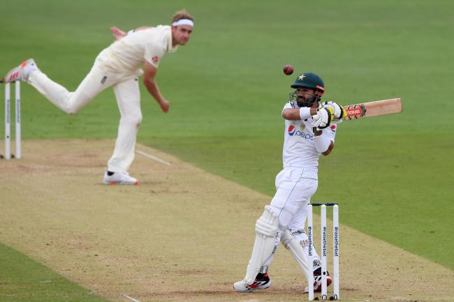 Pakistan's Mohammad Rizwan batting against the bowling of England's Stuart Broad