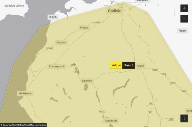 Met Office issue yellow weather warning for rain for Cumbria: Picture: Met Office