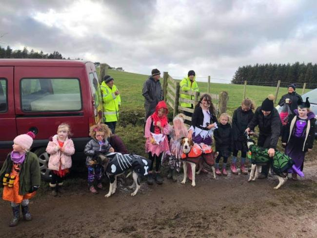 Junior club members enjoying activities which were arranged by the Junior Hound Trailing Association at Millstone Moor as it was Halloween