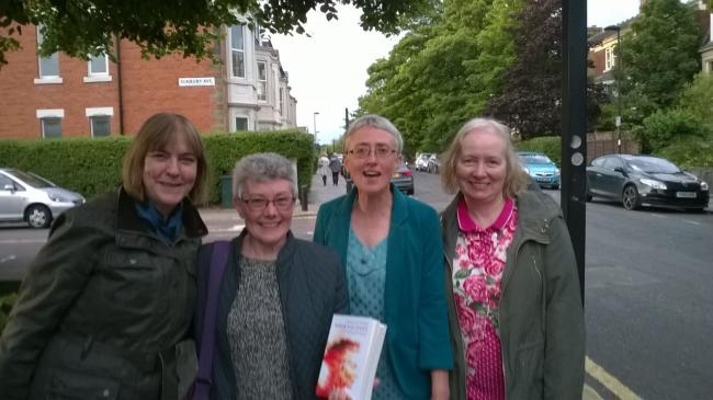 Anne Goodwin, third from left, with friends Sheila Gahagan, Janet McElwee and Susan Heaslip at the launch of Sugar and Snails last year