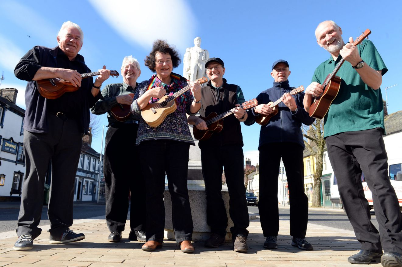 Cockermouth Ukuleles players, from left: Mike Yoxall, Brian White, Linda Kirton, Phil Tattershall, John Lewis and Terry Kirton