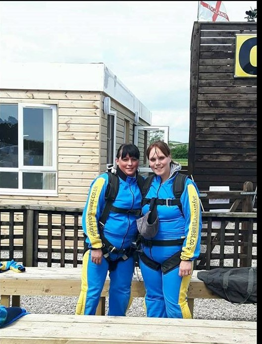 Caroline Edmonson (left) before her skydive on behalf of the Penny Jones Animal Hospice
