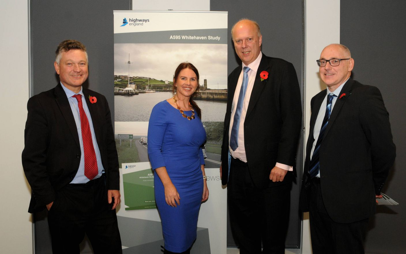 Copeland mayor Mike Starkie, MP Trudy Harrison, Chris Grayling and David Haimes, from Highways England