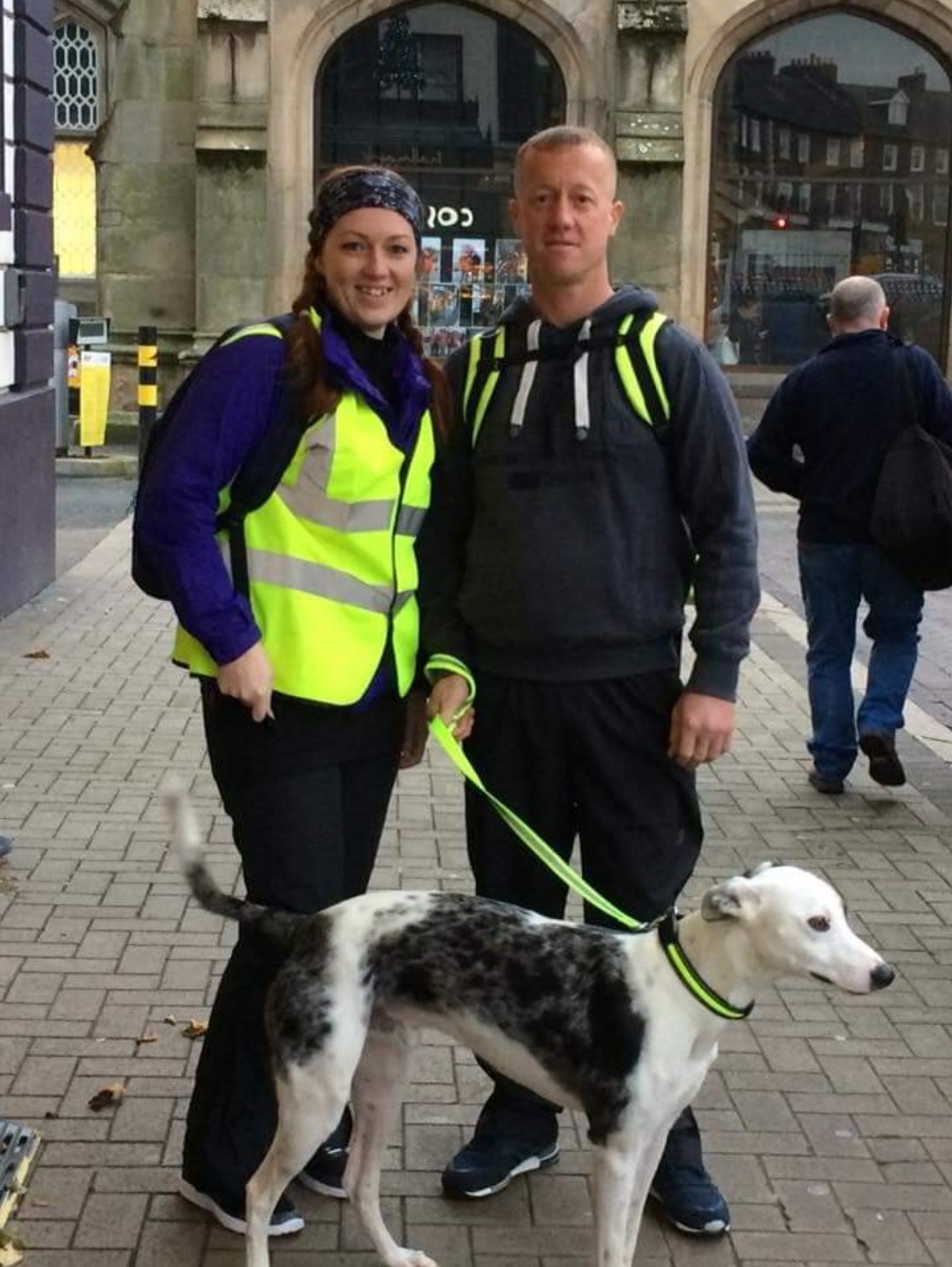 Lynsey Turpin with her brother Paul Hoskin and his dog Arlo, who walked from Carlisle to Workington to raise money for Susan Rumney, who has terminal cancer.