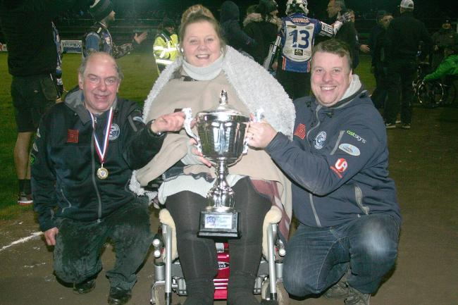 Comets' management trio with the league title	Picture: Dave Payne
