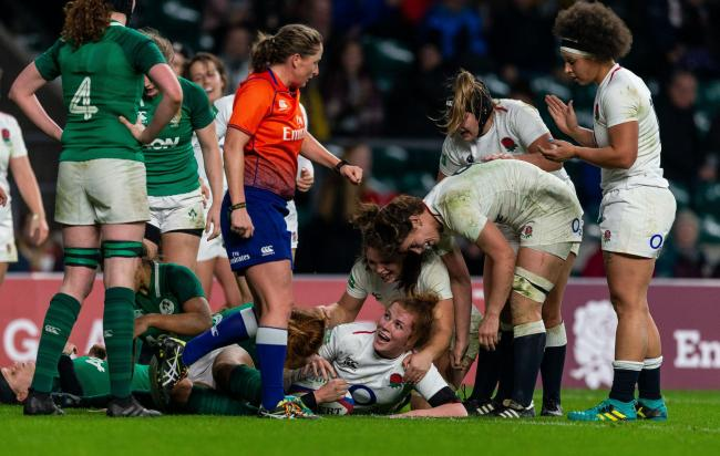 Catherine O'Donnell scores her first try for England against Ireland at Twickenham					                    Picture: Paul Harding/PA Wire