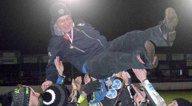 HOPE: Comets team manager Tony Jackson was held aloft after their first ever league title win		Picture: Dave Payne