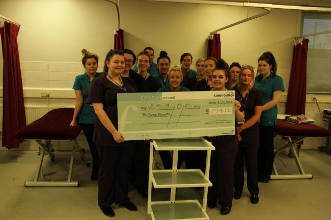 Beauty students at Lakes College West Cumbria raised £244 for Cancer Research UK by holding pampering sessions