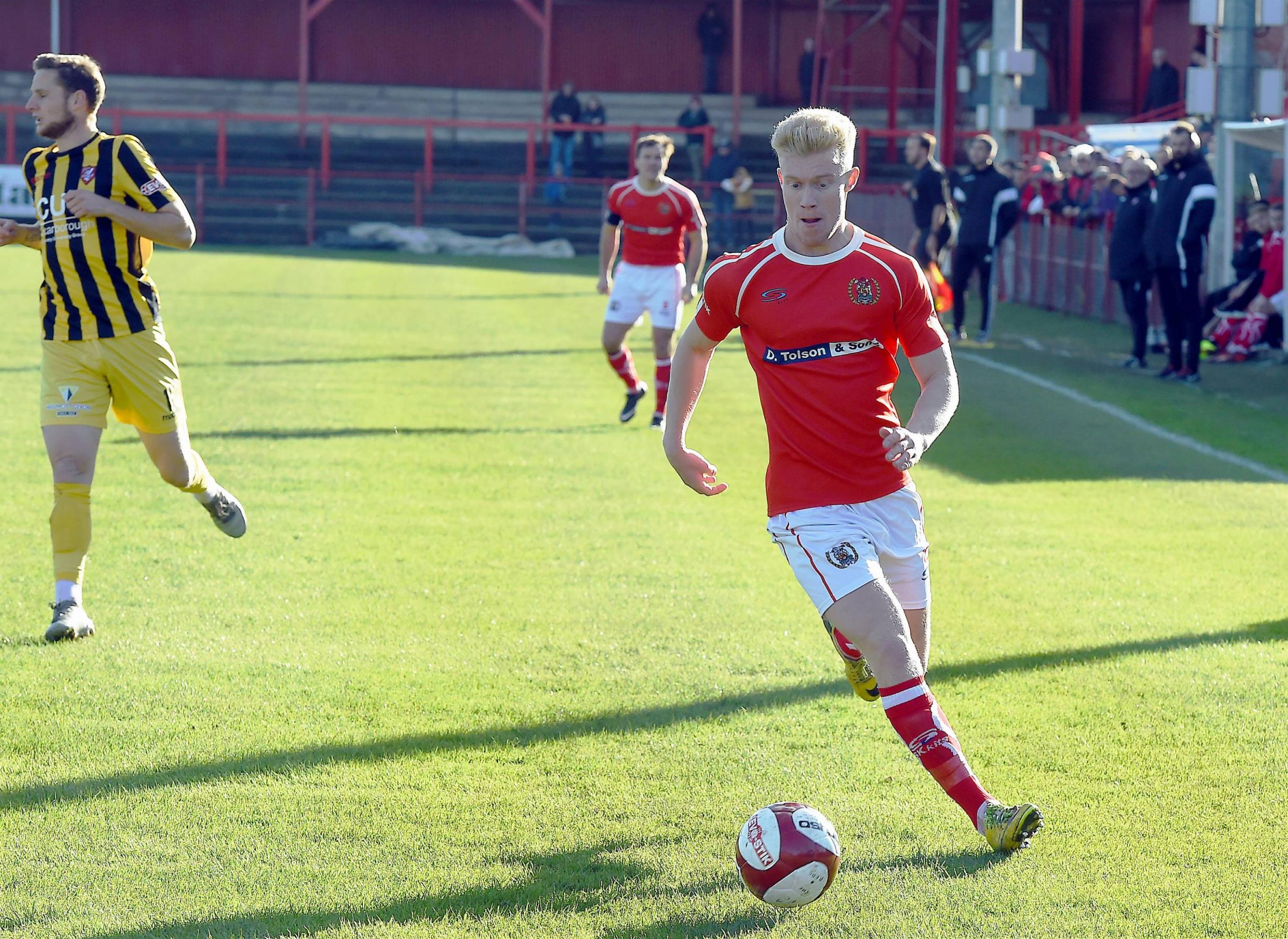 Sam Joel: Struck the foot of the post at 0-0 in Reds' 2-0 defeat at Ramsbottom last night (Photo: John Story)