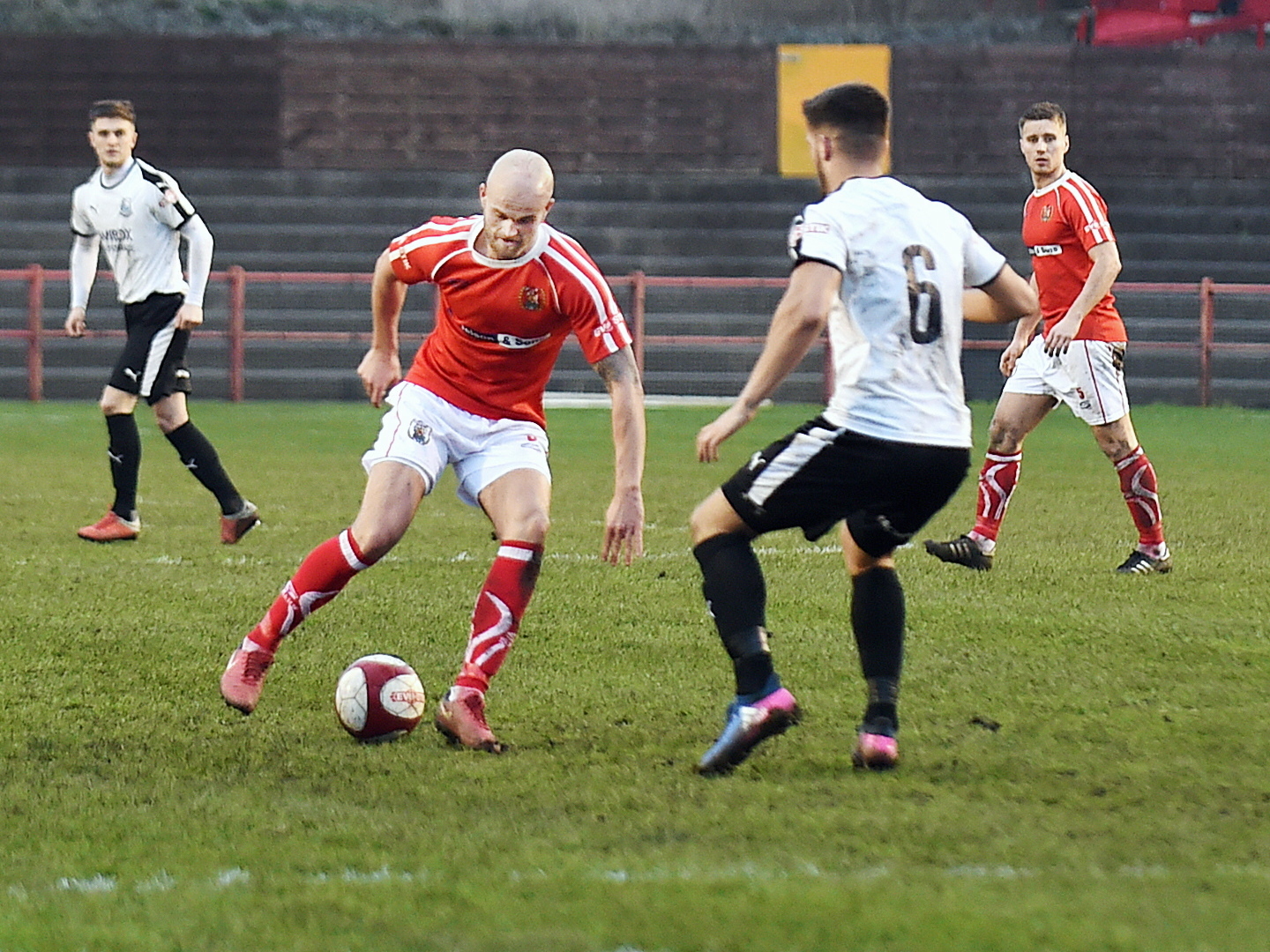 IN-FORM: Niall Cowperthwaite on the ball against Bamber Bridge recently 		          Picture: Mike McKenzie