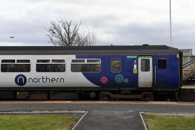 A Northern Rail train waiting at Wigton Railway Station on the Cumbrian Coastal Line