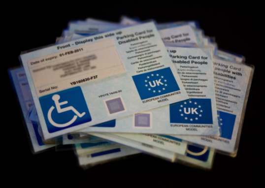 Blue badges for disabled people..