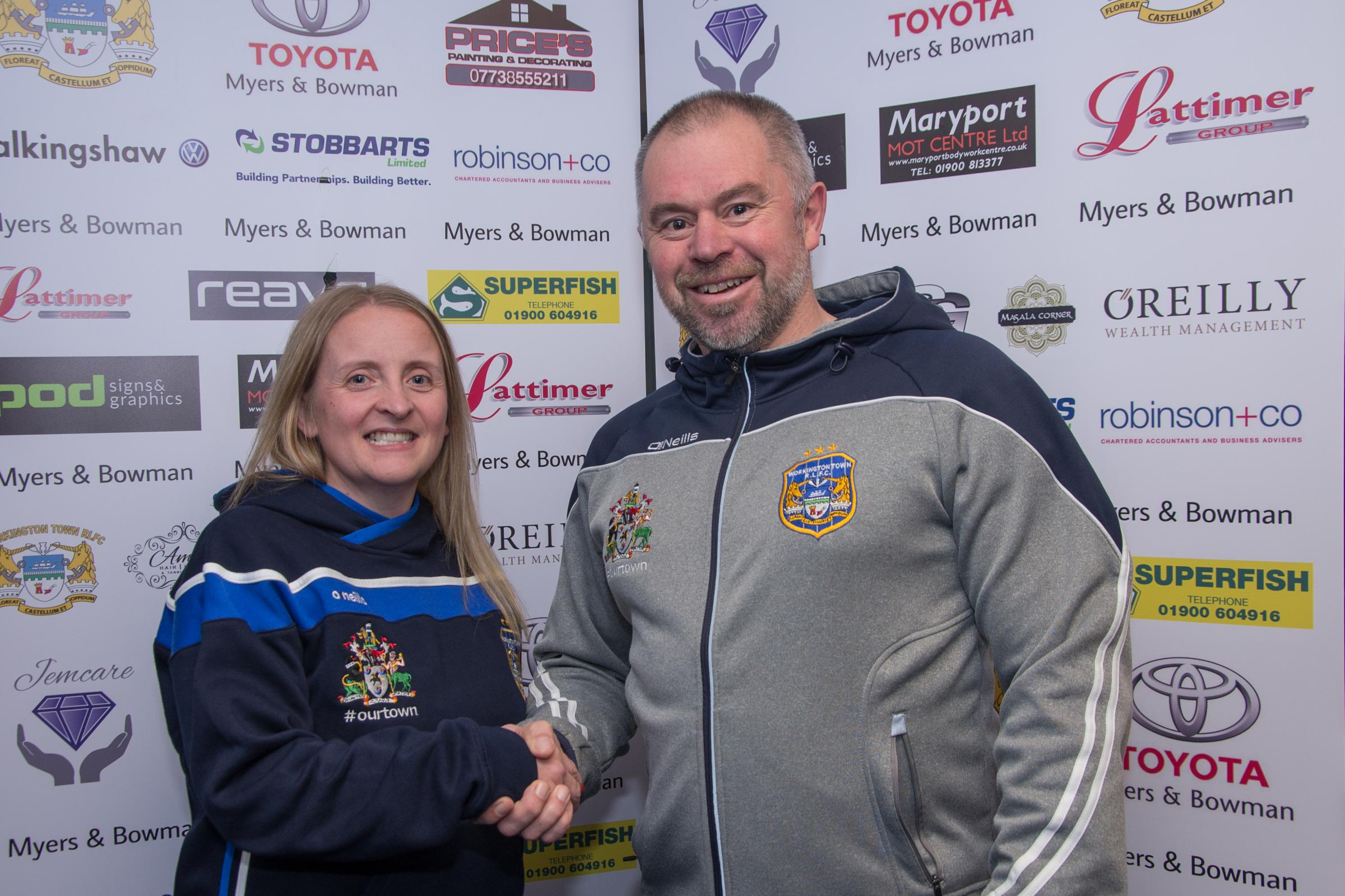 Workington Town chairman Les Smallwood welcomes new director Kerry Harrison. Picture: Gary McKeating