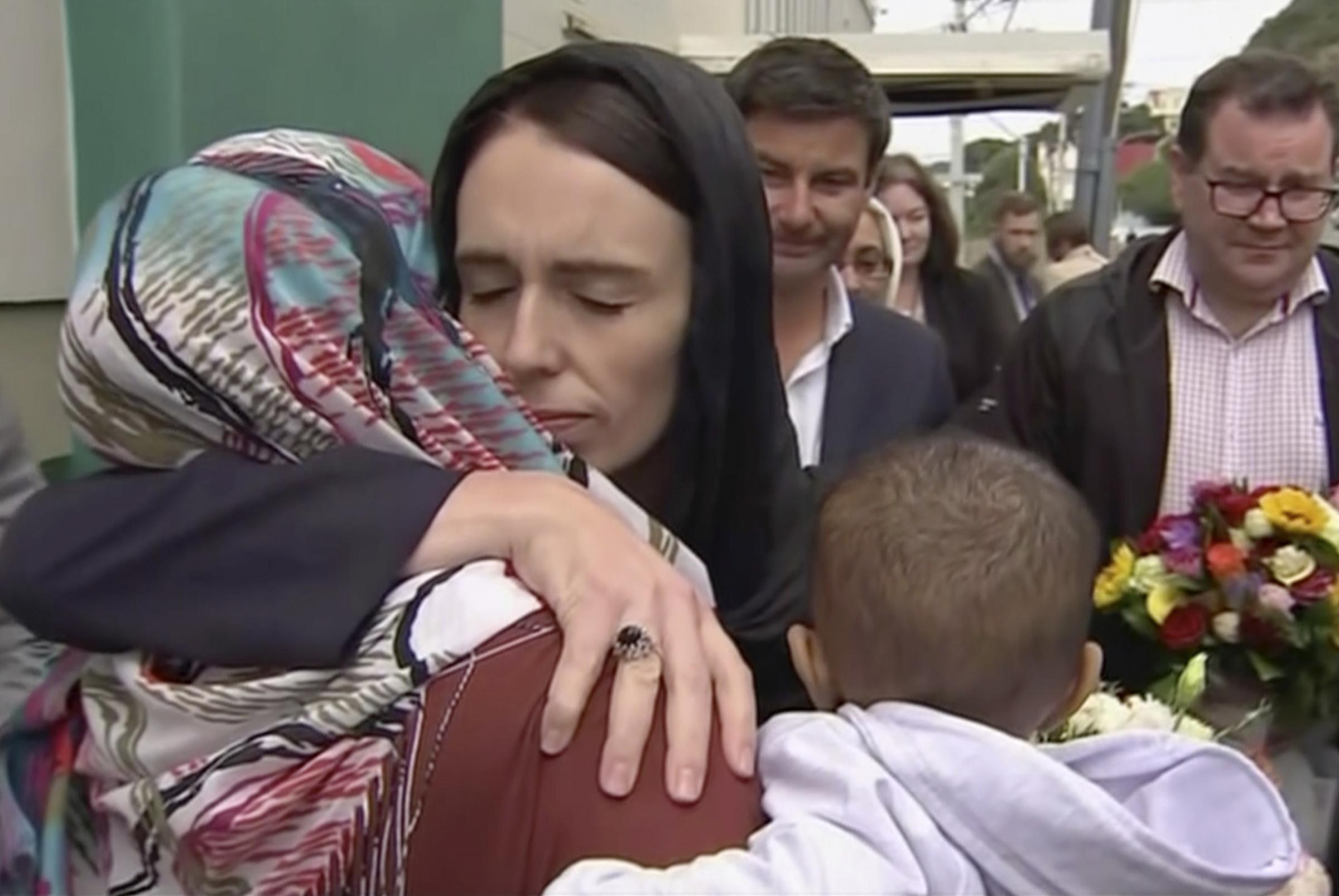 CARING: Jacinda Ardern has written the book on how to be a great Prime Minister ....Photo:  TVNZ via AP