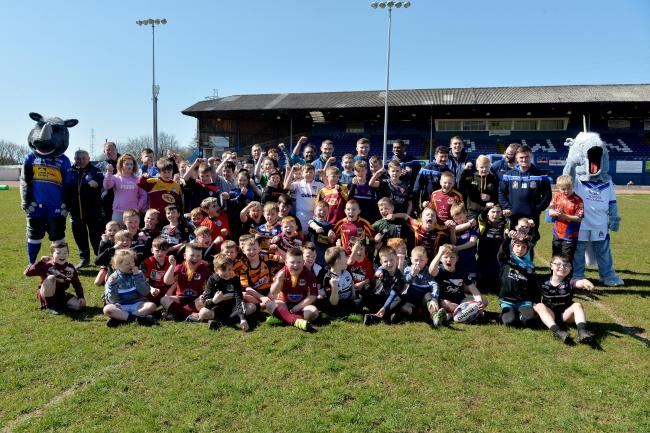 LEARNING CURVE: Workington Town and Leeds Rhinos' rugby camp at Derwent Park			                                                                              Tom Kay