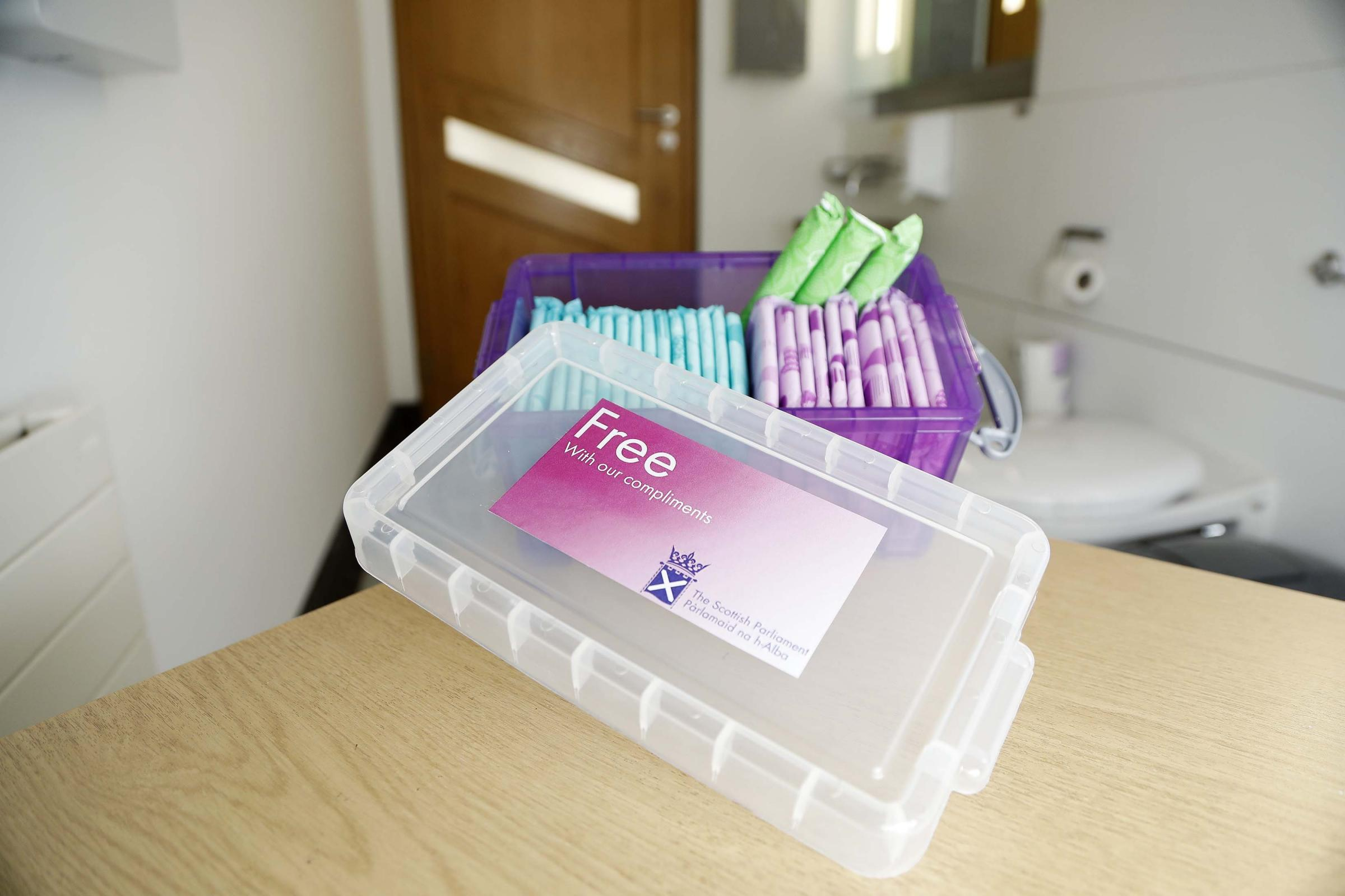 Box of free sanitary products