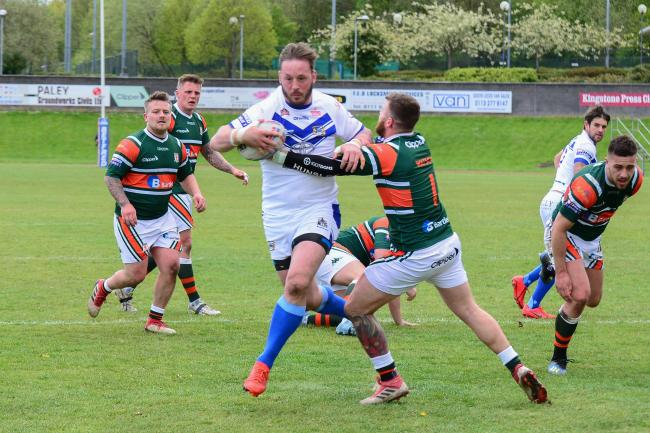 Ollie Wilkes breaks for his second try against Hunslet. Picture: Gary McKeating