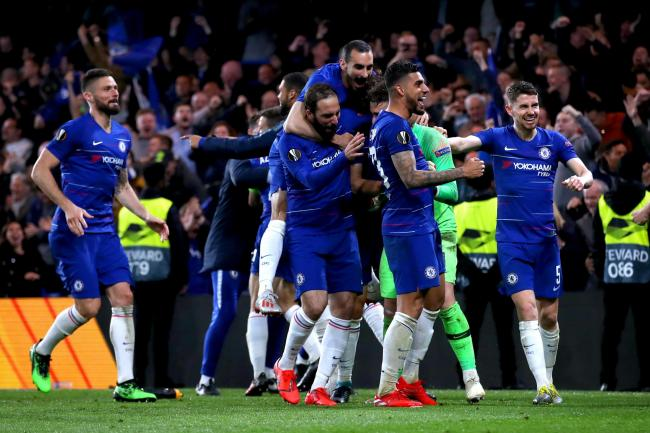 Chelsea's players celebrate reaching the Europa League final