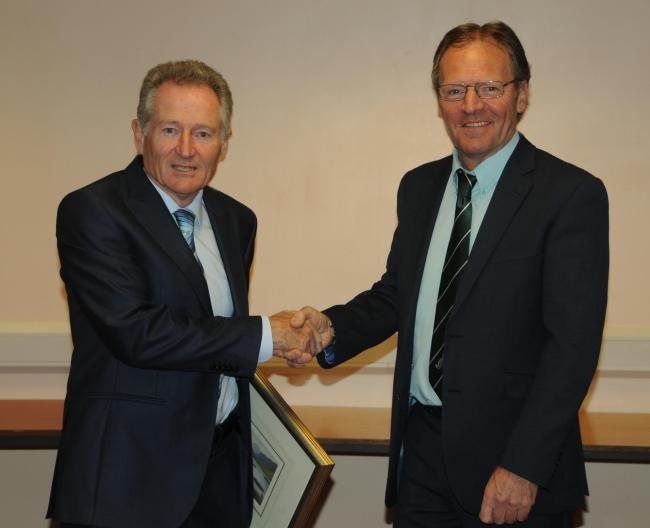 Outgoing Mitchells chairman Bob Watson hands over to successor Ian Powley