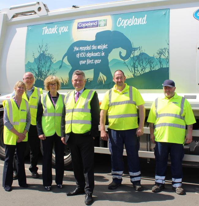 LtoR: Recycling officer Jan Boniface, Waste Team Leader Geoff Eilbeck, Community Services Manager Janice Carrol, Mayor Mike Starkie, Andrew Graham (Waste Operative) and John Agnew (Waste Operative).