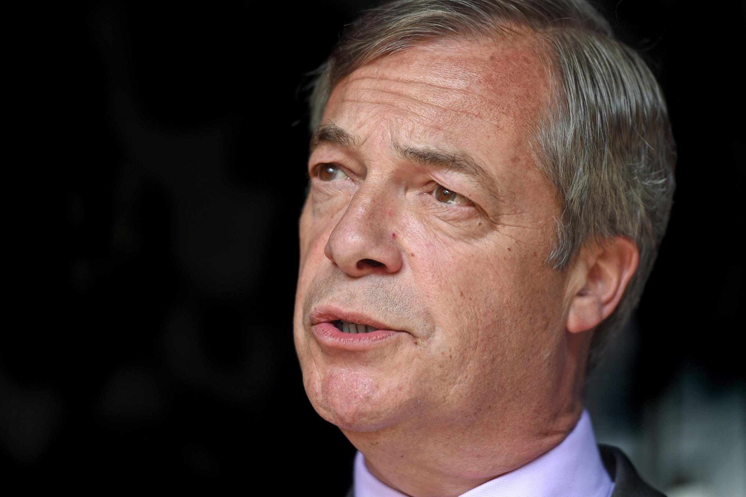 Brexit Party leader Nigel Farage in Brentwood, Essex while on the European election campaign trail