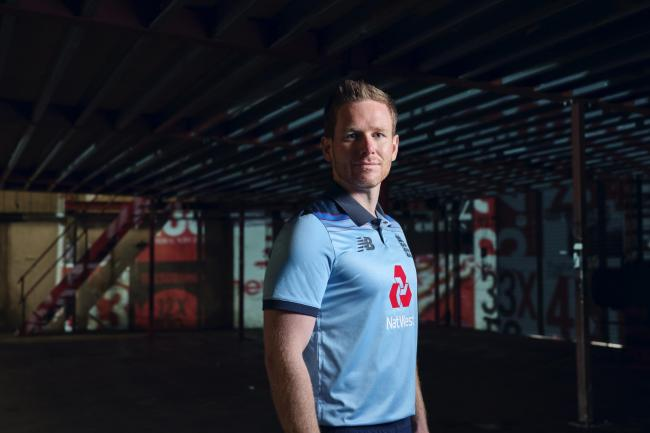 England captain Eoin Morgan in the new World Cup kit