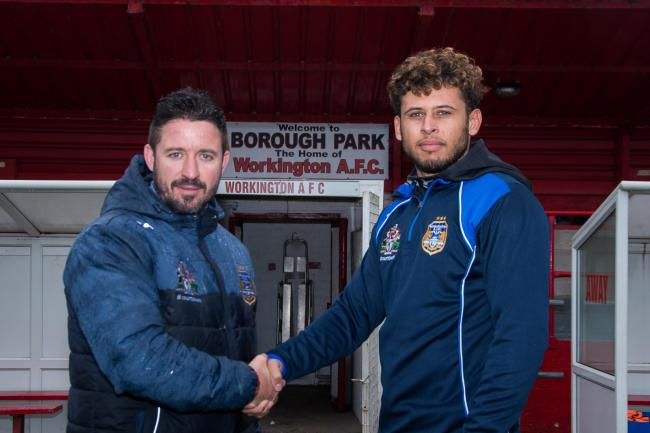 NEW MAN: Workington Town coach Chris Thorman welcomes new signing Calvin Wellington at training at Borough Park